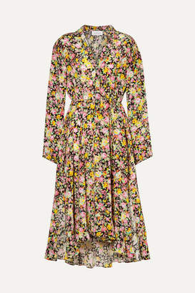 Les Rêveries Asymmetric Floral-print Silk-crepe Midi Dress - Pink