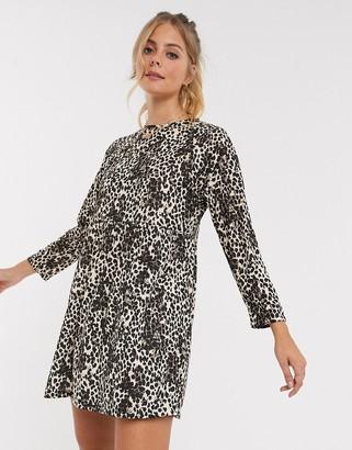 Asos DESIGN smock mini dress in leopard print
