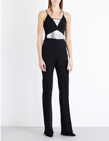 David Koma Crystal-embellished stretch-crepe jumpsuit