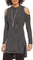 Gibson & Latimer Mock Neck Long Sleeve Cold-Shoulder Striped Tunic