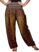 Lofbaz Women's Peacock Print Smocked Waist Harem Pants Purple B 4XL