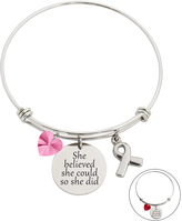 Rose & Stainless Steel 'Believed' Bangle With Swarovski® Crystals