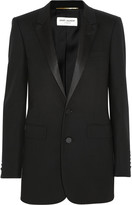 Satin-trimmed wool-crepe tuxedo blazer