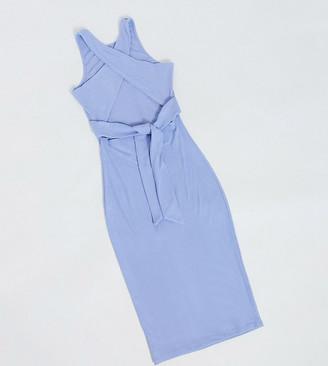 4th + Reckless Tall cross back midi dress in blue