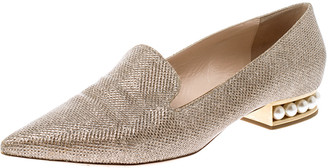 Nicholas Kirkwood Gold Glitter Fabric Casati Faux Pearl Heel Pointed Toe Loafers Size 40