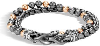 John Hardy Men's Asli Classic Chain Double-Wrap Bracelet, Black/Gray