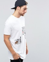 Asos Longline T-Shirt With Japanese Inspired Printed Patches