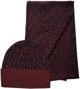 Michael Kors Women's 2 Piece Scarf and Hat Set Merlot Black