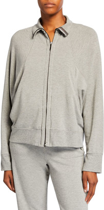 MAX MARA LEISURE Zip-Front Dolman Sleeve Jersey Track Jacket