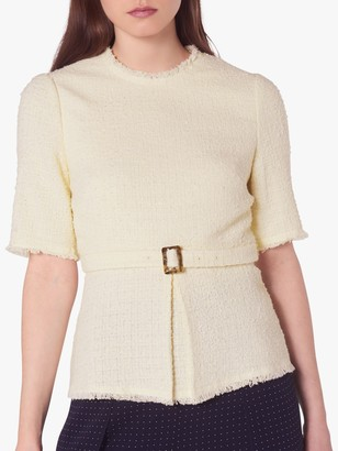 LK Bennett Bernice Cotton Blend Crew Neck Blouse, Cream