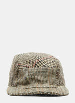 Stella Mccartney Mixed Check Tweed Cap In Brown And Beige