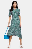 Topshop Womens Petite Green Floral Ditsy Print Zip Front Midi Dress - Green