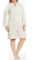 Miss Elaine Plus Floral French Terry Zip Robe