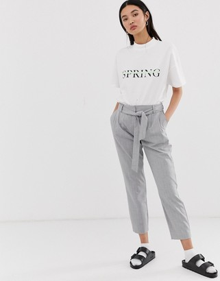 Selected check pants with tie waist