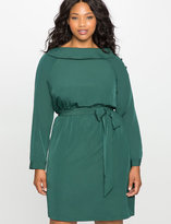 ELOQUII Plus Size Collared Boatneck Fit and Flare Dress