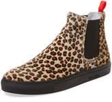 Del Toro Men's Leopard Pony Hair Chelsea Sneaker