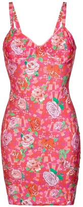 AMIR SLAMA Floral Print Fitted Dress