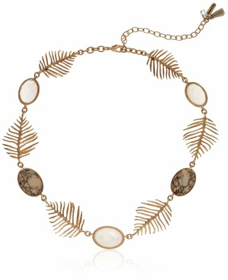 lonna & lilly Women's Gold Tone Neutral Leaf Collar Necklace One Size