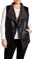 Live A Little Faux Shearling Drape Vest (Plus Size)