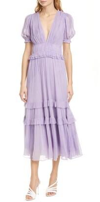Ulla Johnson Elodie Pleated Silk Midi Dress