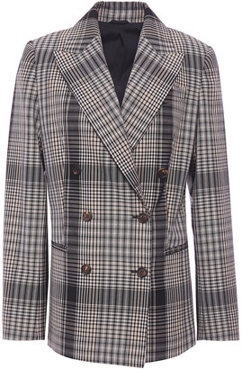 Brunello Cucinelli Double-breasted Checked Wool Blazer