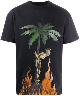 Palm Angels burning skeleton motif T-shirt