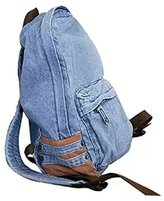 FIST BUMP Dept Unisex Vintage Denim Satchel Backpack Rucksack Shoulder Travel Bag