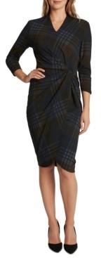 Tahari ASL Plaid Knotted Faux-Wrap Sheath Dress