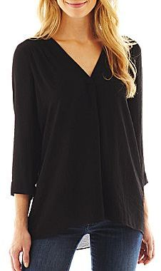 JCPenney a.n.a® V-Neck Crepe Tunic