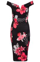 Quiz Black And Red Floral Bardot Midi Dress