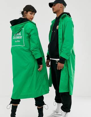 Opening Ceremony nylon box logo trench coat-Green