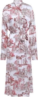 Co Belted Printed Silk-satin Midi Shirt Dress