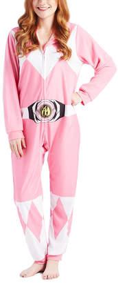 Intimo Women's Footies PR921: - Mighty Morphin' Power Rangers Pink Hooded Pajamas - Juniors