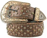 Deal Fashionista Women's Western Rhinestone Bling Studs Removable Buckle Leather Belt