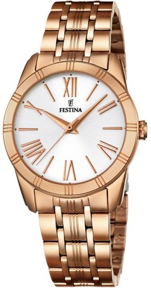 Festina BOYFRIEND Women's Quartz Watch with Silver Dial Analogue Display and Rose Gold Stainless Steel Rose Gold Plated Bracelet F16943/1