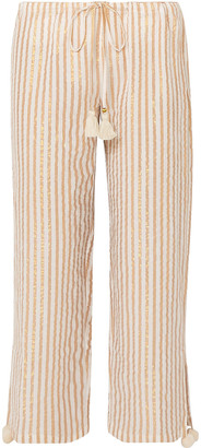 Figue Goa Cropped Striped Cotton And Lurex-blend Wide-leg Pants