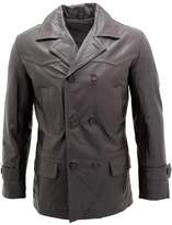 Infinity Men's German Naval Dr Who Cow Hide Leather Pea Coat 3XL