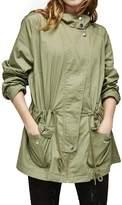 Escalier Women's Lightweight Anorak Jacket Drawstring Military Parka Coat__XL