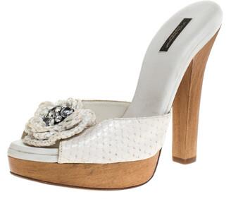 Dolce & Gabbana White Python Embellished Wooden Platform Slides Size 40