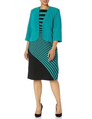 Maya Brooke Women's Plus Size Stripe Jacket Dress