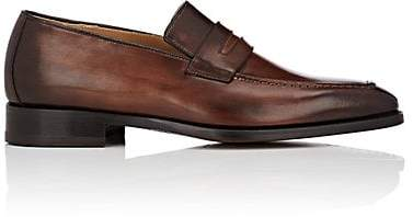 Barneys New York Men's Burnished Leather Penny Loafers - Brown