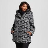 Ava & Viv Women's Plus Size Faux Wool Blanket coat with fur trim hood