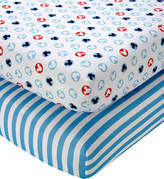 Disney Mickey Mouse Cotton 2-Pc. Stripe & Silhouette-Print Fitted Crib Sheet Set Bedding