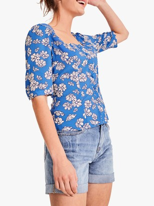 Hush Lee Floral Print Button T-Shirt, Blue