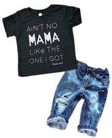 EGELEXY Newborn Toddler Baby Boy Casual Clothes T-shirt Top+Denim Pants Outfits Set