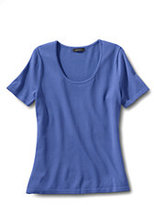 Lands' End Women's Regular Short Sleeve Rayon Nylon Sweater-China Blue