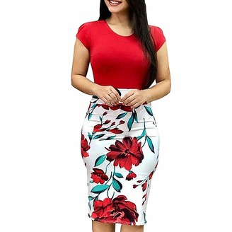 So Buts Women Dresses SO-buts Fashion Women Causal Work Sexy O-Neck Short Sleeve Splicing Flower Print Slim Bodycon Midi Dress (Red S)