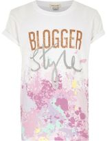 River Island Girls White 'blogger style' paint T-shirt