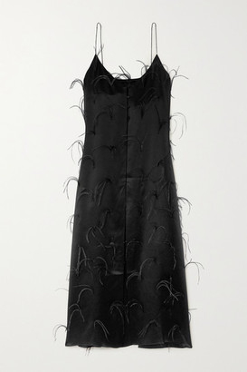 Michael Lo Sordo Feather-embellished Silk-satin Maxi Dress - Black