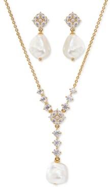 Eliot Danori Cubic Zirconia & Imitation Pearl Lariat Necklace & Drop Earrings Set, Created for Macy's